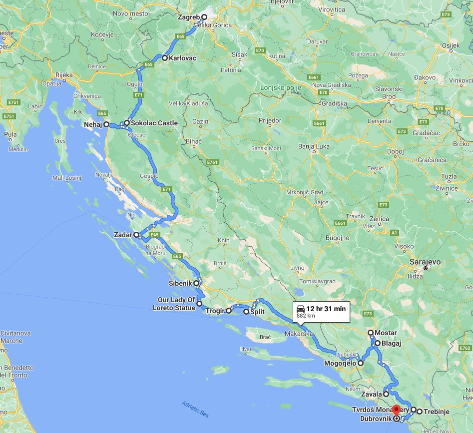 Tour map for #615 Discover Croatia + Bosnia in 7 days all seasons tour from Zagreb to Dubrovnik. Monterrasol Travel small group minivan tour. UNESCO venetian towns of Dalmatian Riviera and scenic roads.