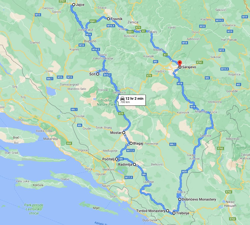 Tour map for All seasons discovery Bosnia 4 days tour from Sarajevo. Small group tour from Monterrasol Travel in minivan. Off the beaten path travel in Bosnia.