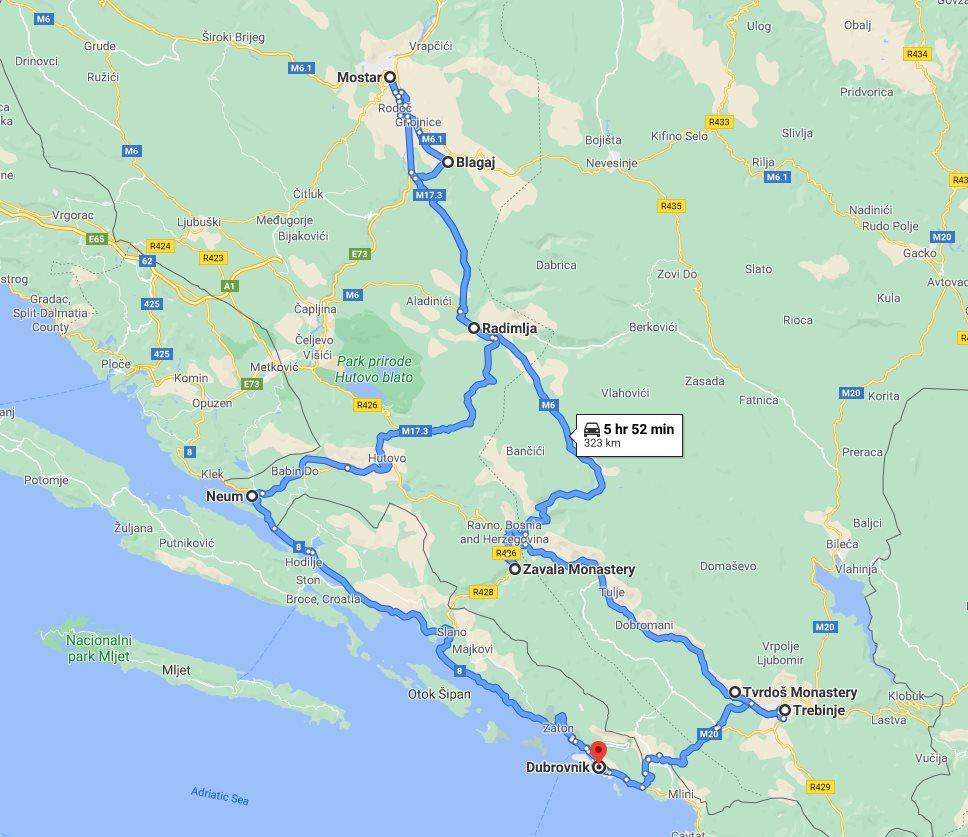 Tour map for #620 All seasons 2 days Bosnia discovery tour from Dubrovnik. Small group tour with minivan by Monterrasol Travel. Trebinje, Tvrdos monastery, Blagaj, Mostar.