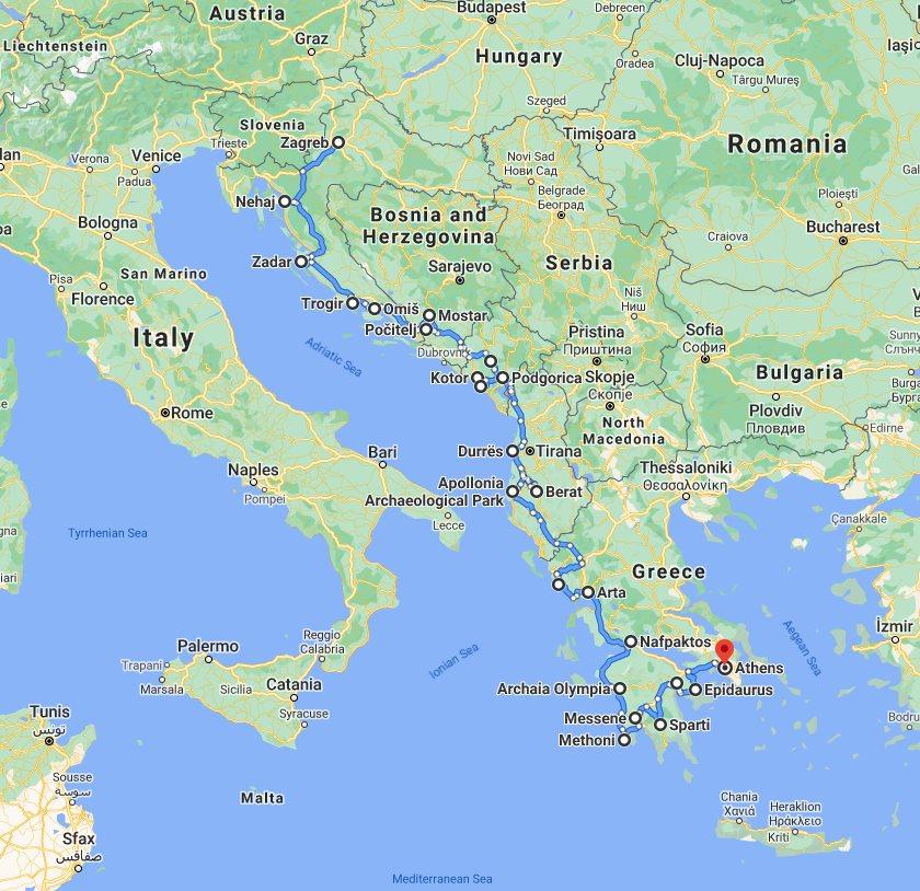 Tour map for #626 Explore Croatia Bosnia Montenegro Albania Greece by cultural tour 32 days. Monterrasol Travel small group minivan tour. Balkans roadtrip from Zagreb to Athens. Old towns, fortresses, monasteries, UNESCO sites.