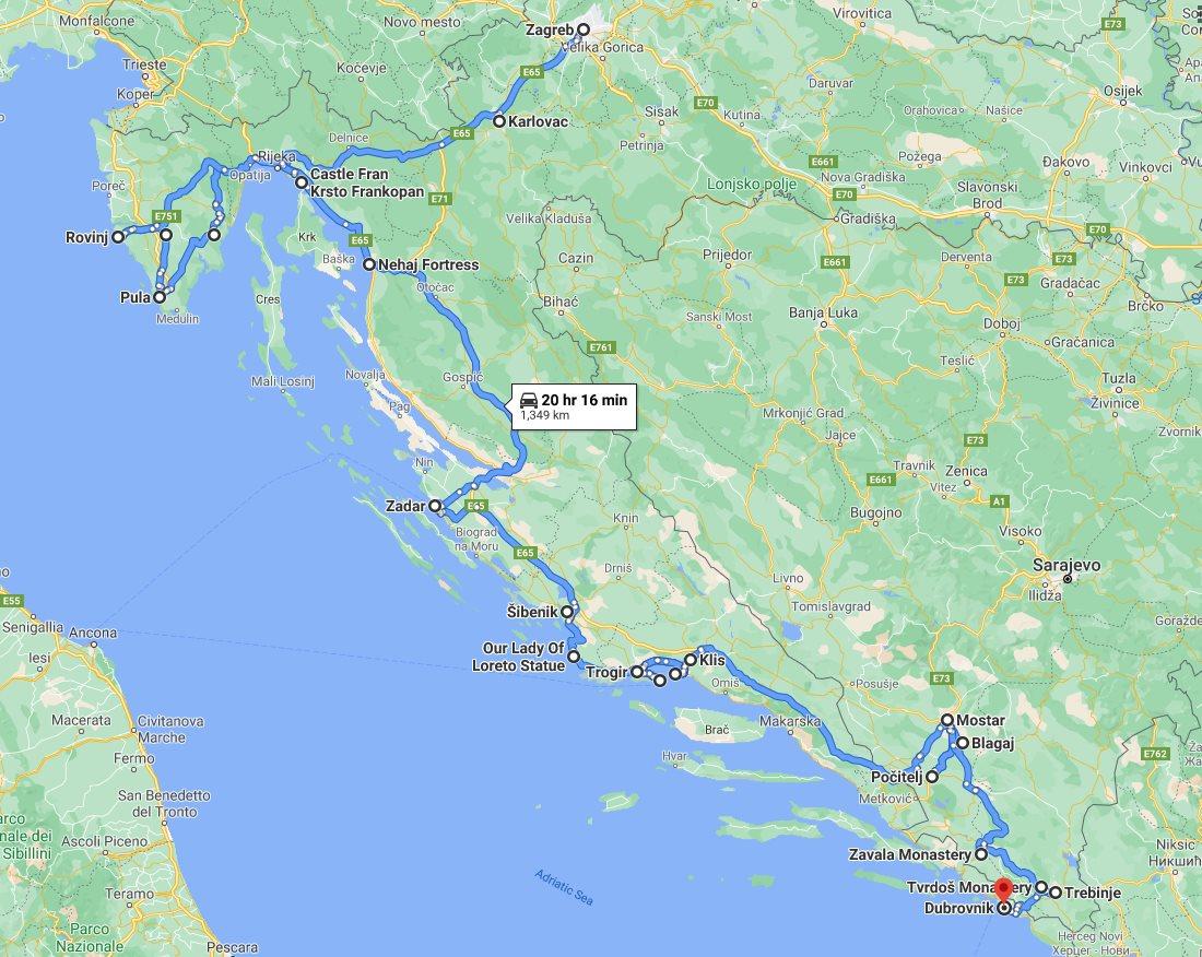 Tour map for Explore Croatia UNESCO sites + meet Bosnia medieval land in 16 days tour. Monterrasol Travel minivan small group tour. Balkans roadtrip from Zagreb to Dubrovnik.