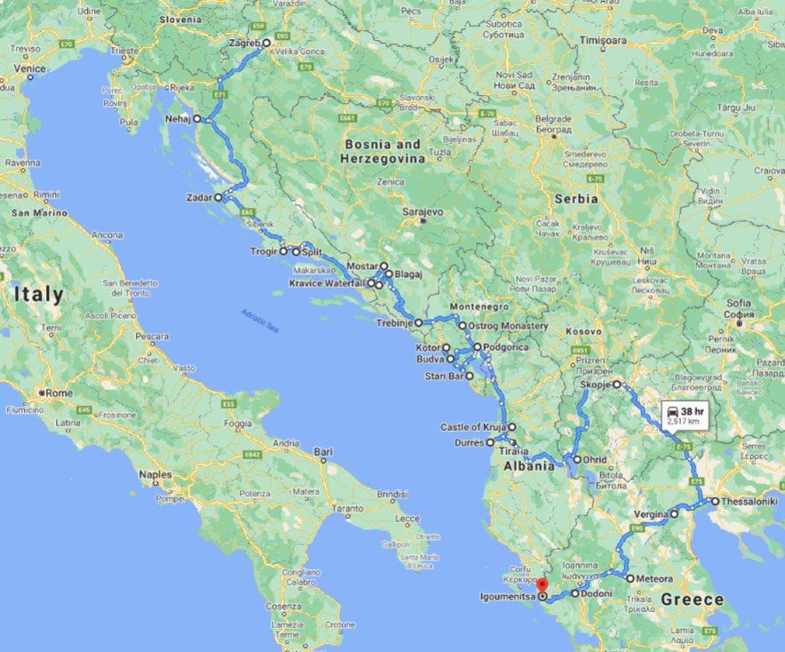 Tour map for Discover Croatia Bosnia Montenegro Albania Macedonia Greece in 23 days tour. Small group tour in minivan from Monterrasol Travel. UNESCO sites, old towns, monasteries and fortresses on Balkans roadtrip from Zagreb to Igoumenitsa.