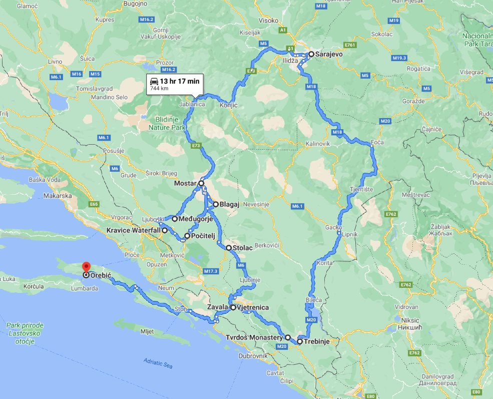 Tour map for All seasons 5 days discovery Bosnia tour from Korcula. Monterrasol Travel small group tour in minivan. Mostar, Pocitelj, Sarajevo, Stolac, Trebinje and more.