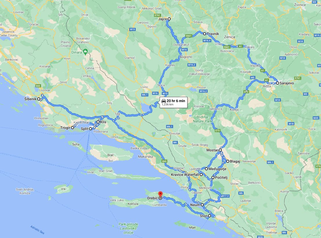 Tour map for #641 All seasons 9 days tour to discover Bosnia and visit Croatian Dalmatia from Korcula. Small group tour by car from Monterrasol Travel. Bosnia main attractions + famous UNESCO sites Split, Sibenik and Trogir in Croatia.
