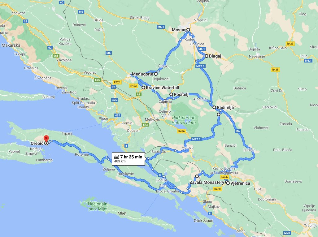 Tour map for Cultural + wine tasting 2 days all seasons Bosnia tour from Korcula. Monterrasol Travel tour in small group minivan. Visit Mostar, Medjugorje, Blagaj, Pocitelj, Kravica.