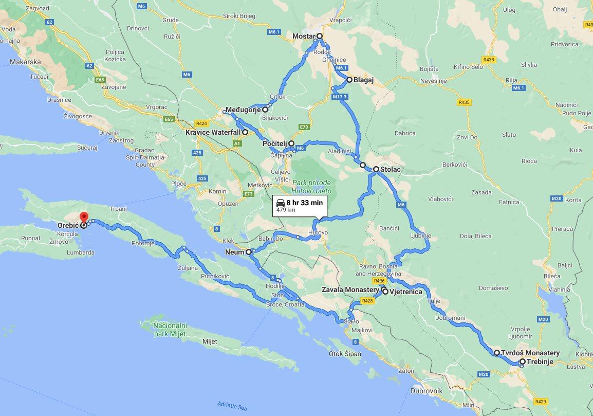 Tour map for All seasons best of Bosnia 3 days discovery tour from Korcula. Monterrasol Travel tour with small group minivan. Mostar, Pocitelj, Stolac, Tvrdos, Trebinje, Kravice waterfalls.