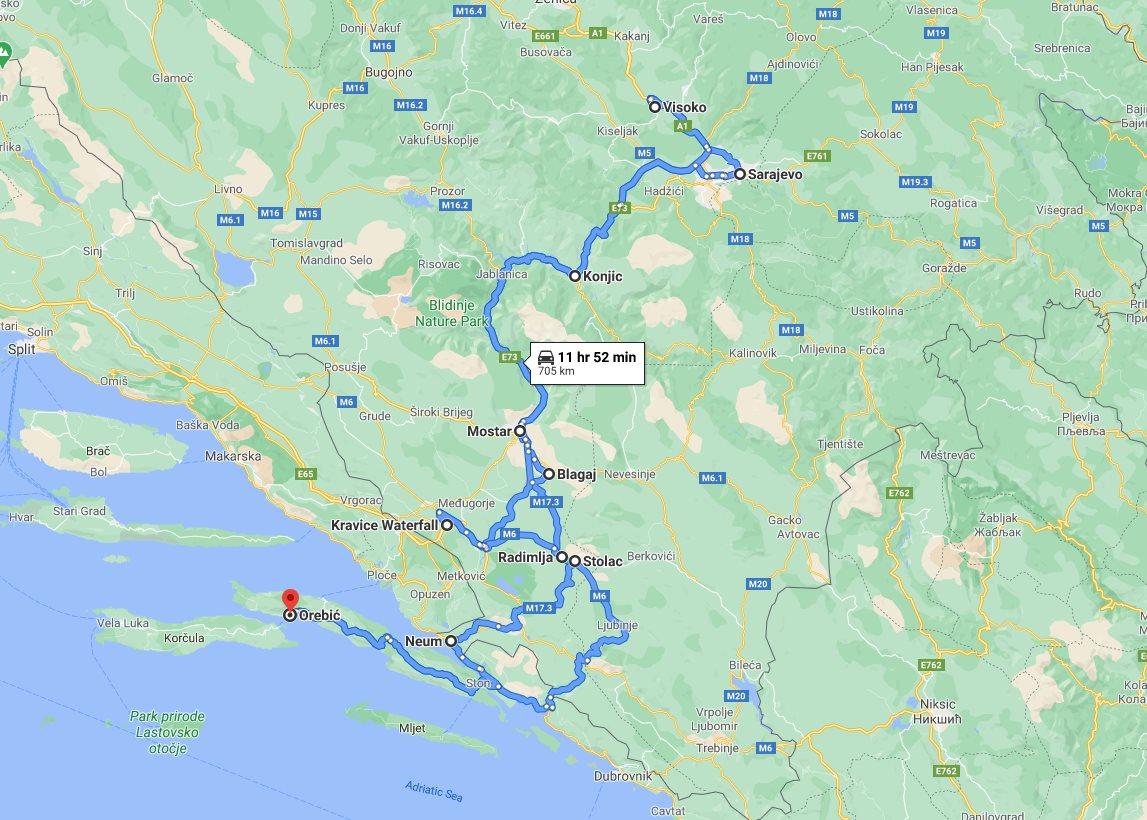 Tour map for #647 All seasons best of Bosnia 3 days discovery tour from Korcula. Monterrasol Travel minivan small group tour. Mostar, Blagaj, Sarajevo, Kravice waterfalls, Bosnian Pyramid.