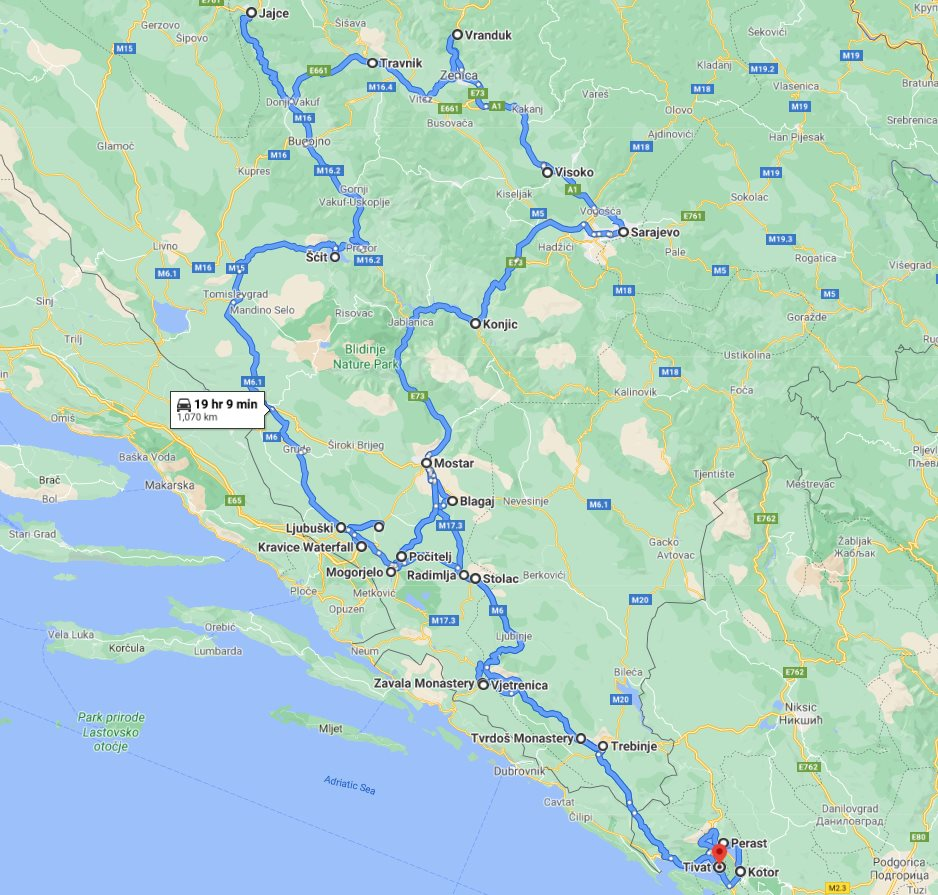 Tour map for All seasons 12 days tour over Bosnia from Tivat. Minivan small group tour by Monterrasol Travel. Explore the best in Bosnia and UNESCO town Kotor in Montenegro.