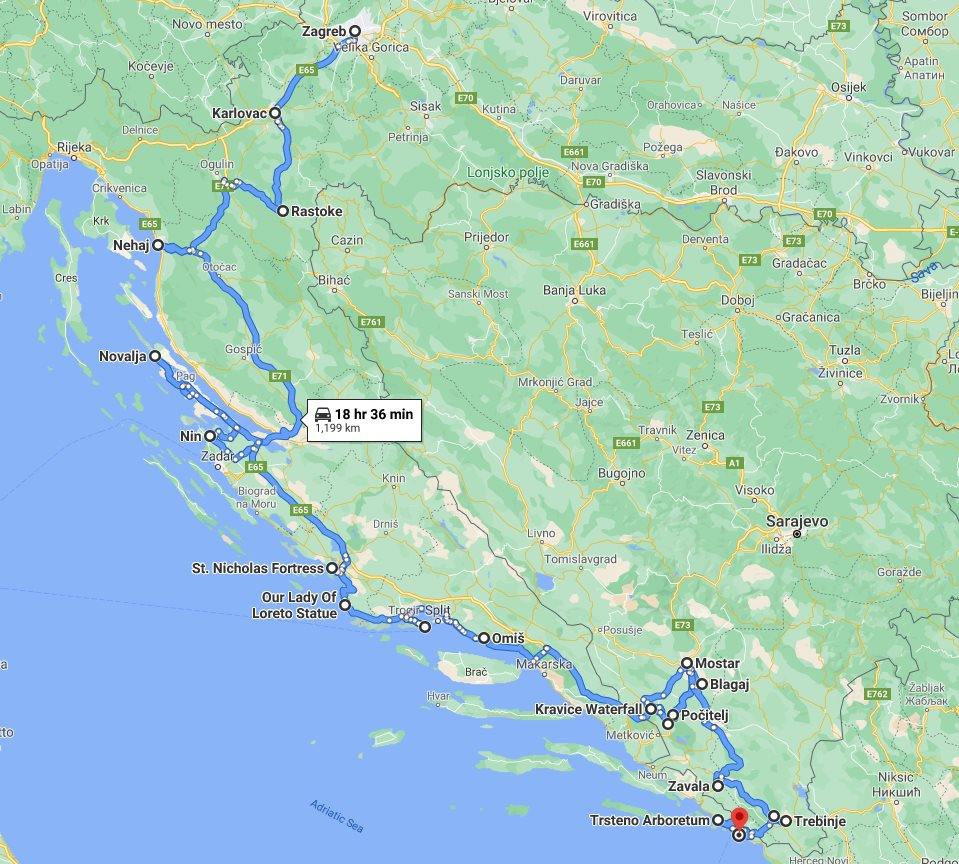Tour map for #650 Croatia + Bosnia all seasons discovery 10 days tour from Zagreb to Dubrovnik. Monterrasol Travel small group tour by car. More nature, less cities. Scenic roads of Dalmatian Rivera.