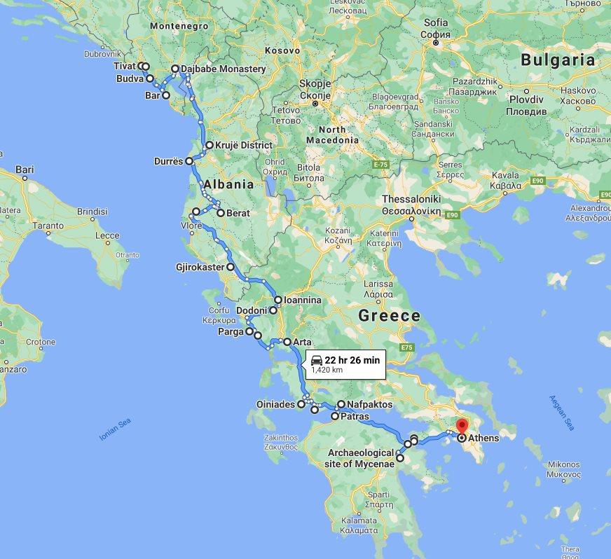 Tour map for #662 Exploring Montenegro Albania Greece in 15 days tour from Tivat. Monterrasol Travel tour use small group minivan. All seasons Southern Balkans tour with UNESCO sites, fortresses, monasteries.
