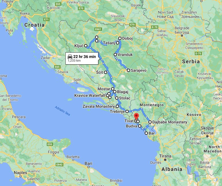Tour map for #666 Explore Bosnia+Montenegro in all seasons 20 days tour from Sarajevo. Monterrasol Travel small group tour with minivan. UNESCO sites, fortresses and medieval towns of two Balkans countries.