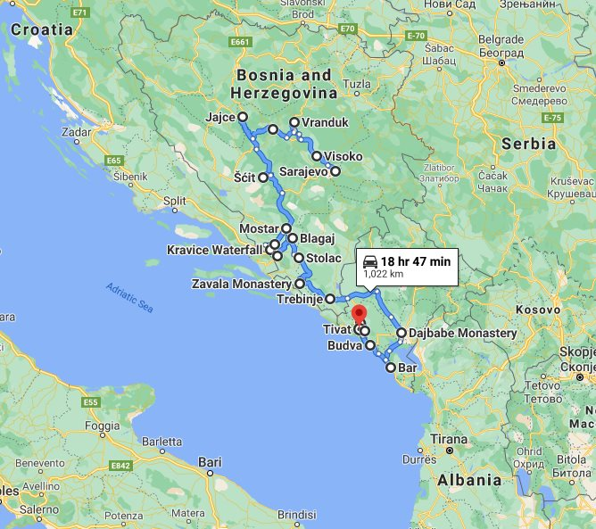 Tour map for #667 Explore Bosnia+Montenegro by all seasons 15 days slow tour from Sarajevo. Monterrasol Travel small group tour with minivan. UNESCO sites, medieval towns and fortresses of two Balkans countries.