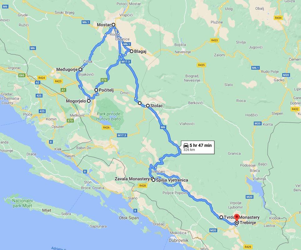 Tour map for #672 All seasons Bosnia discovery 3 days tour from Trebinje. Monterrasol Travel small group tour with minivan. Bosnia UNESCO town Mostar and Blagaj, Pocitelj, Vjetrenica, Zavala, Medjugorje, Stolac.