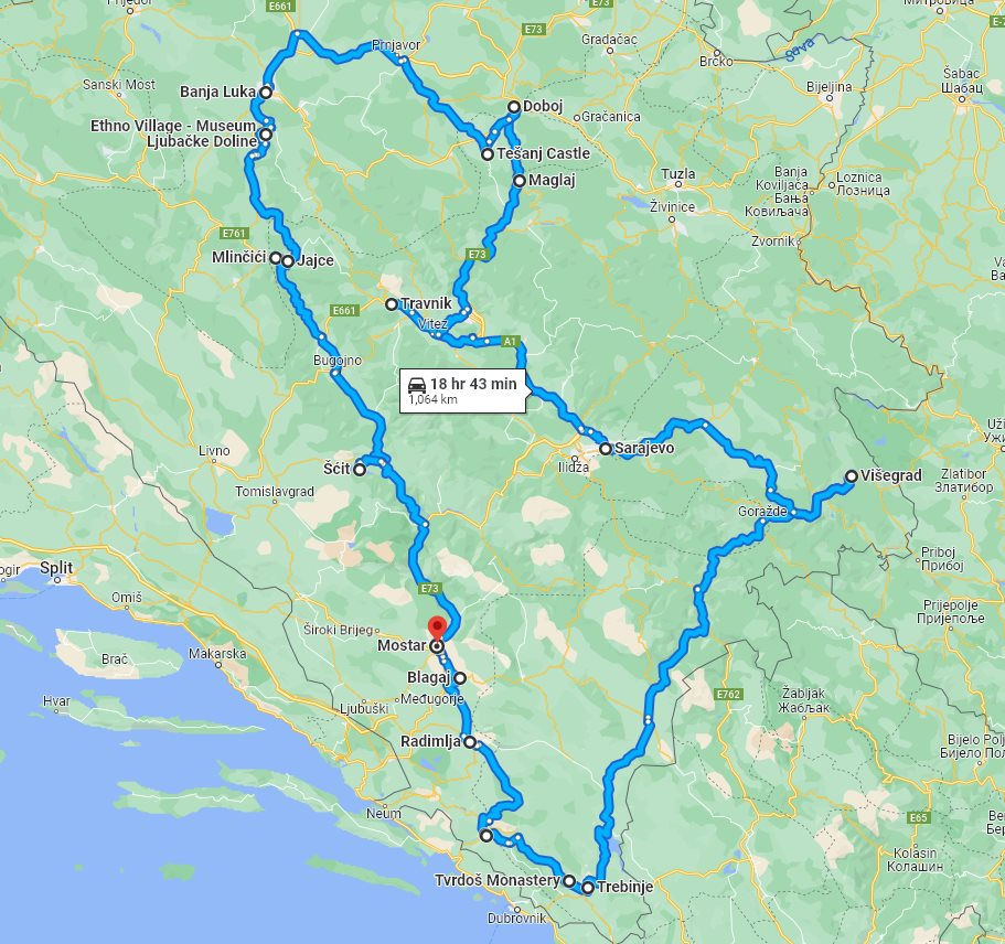 Tour map for #675 All seasons 6 days Bosnia exploring tour from Mostar. Monterrasol Travel small group tour by car. Medieval land of Bosnia: nature, scenic roads, old towns and monasteries.
