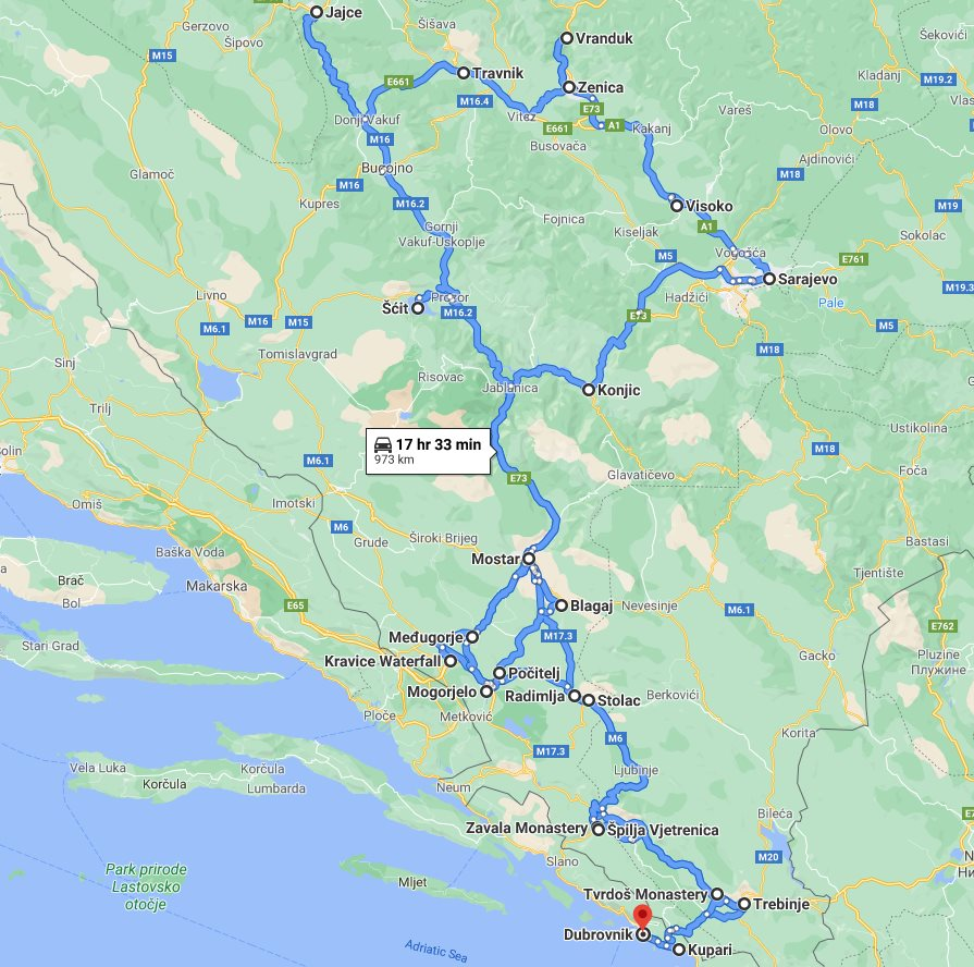 Tour map for #681 Main attractions of Bosnia in 8 days tour from Dubrovnik. Monterrasol Travel small group tour in minivan. All seasons Bosnia discovery tour. Old towns, fortresses, waterfalls, monasteries, cave.