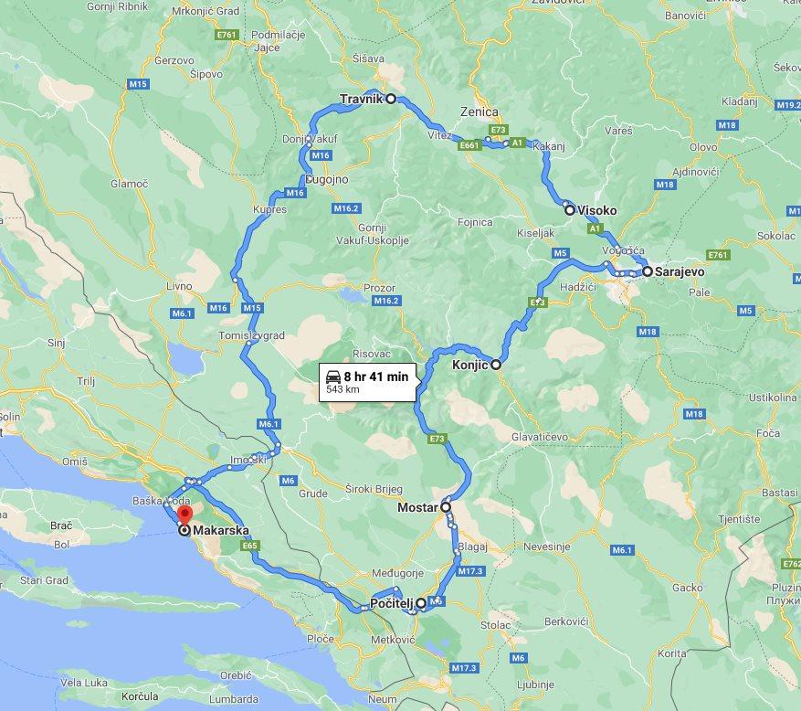 Tour map for #683 All seasons 3 days Bosnia mini tour from Makarska. Small group tour in minivan from Monterrasol Travel. Pocitelj, Mostar, Sarajevo, Bosnian Pyramids, Travnik.