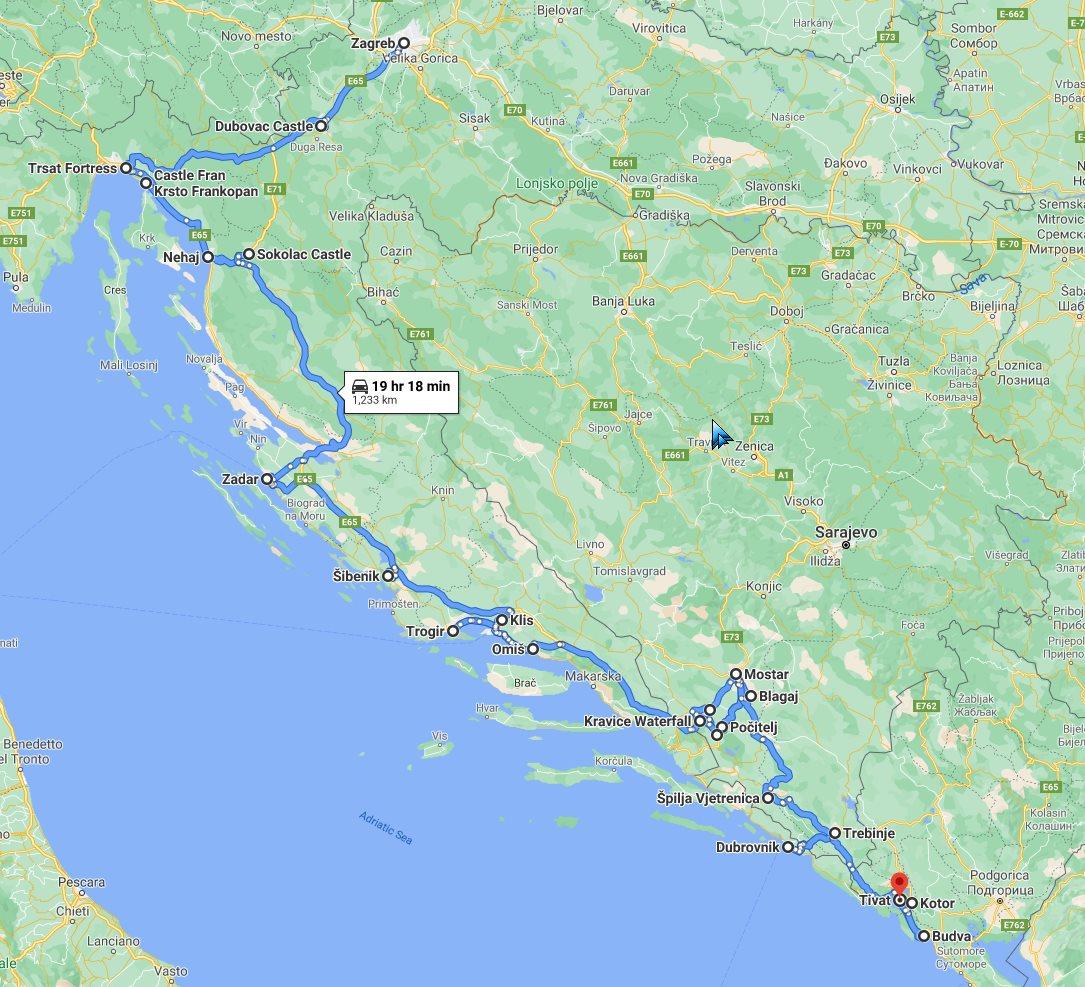 Tour map for #689 All seasons Balkans road trip 15 days via Croatia Bosnia Montenegro from Zagreb. Monterrasol Travel minivan small group tour. Balkans Adriatic coast discovery tour via 3 countries.