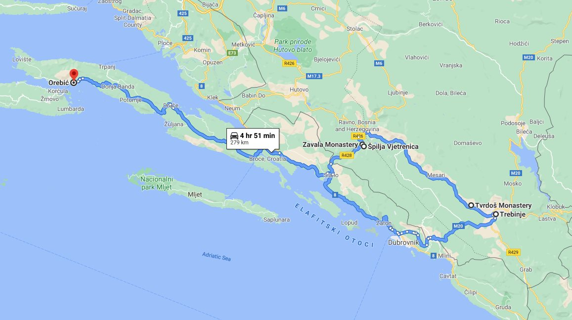 Tour map for #703 Day trip from Korcula to Vjetrenica cave with wine tasting in Tvrdos monastery. Small group car tour by Monterrasol Travel. See also Zavala monastery and Trebinje.