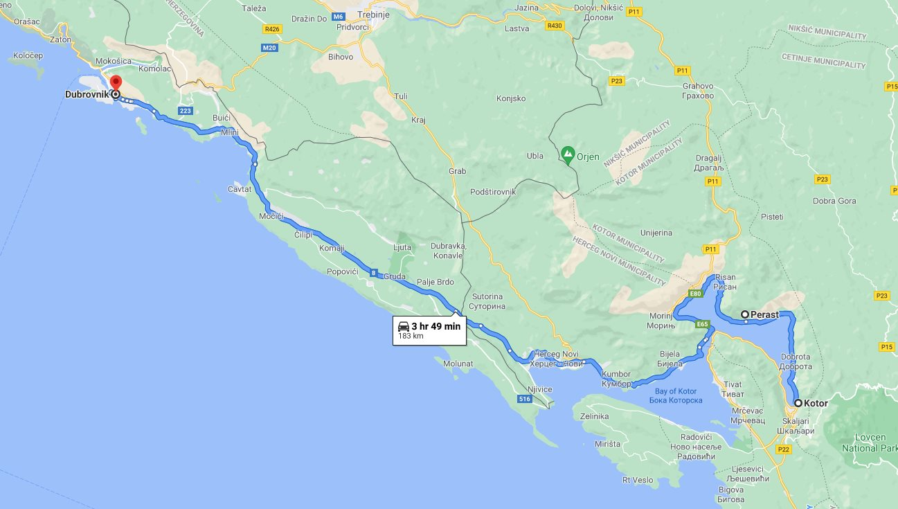Tour map for #704 Day trip from Dubrovnik to see Kotor and Perast. Monterrasol Travel small group tour by minivan. Visit in Montenegro the Kotor UNESCO Venetian town and charming Perast.