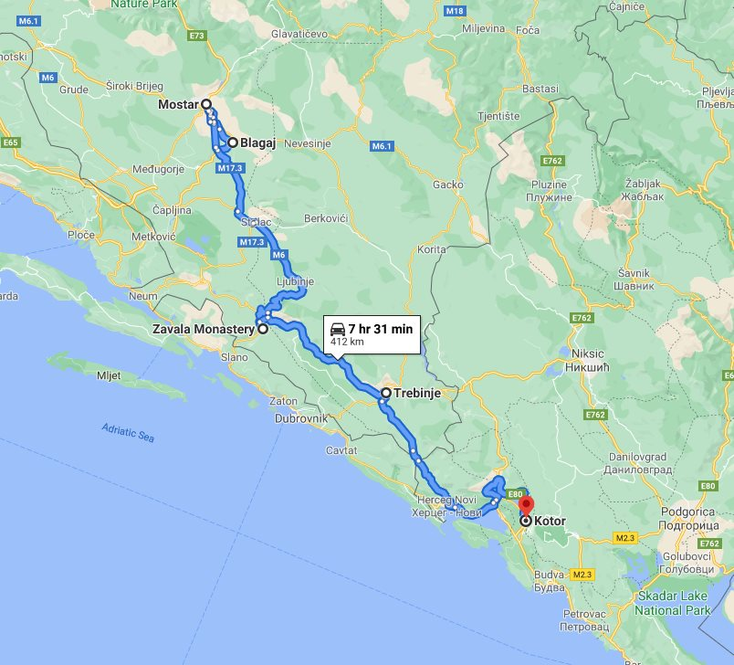 Tour map for #710 Day trip from Kotor to Mostar and Blagaj. Minivan small group tour by Monterrasol Travel. Visit also Zavala monastery and enjoy wine tasting in Trebinje.