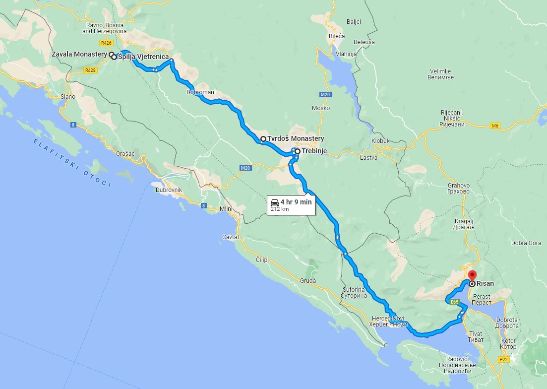 Tour map for #711 Day trip from Risan to Vjetrenica cave with wine tasting in Tvrdos monastery. Monterrasol Travel tour use small group minivan. See also Zavala monastery and Trebinje.
